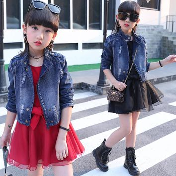 Children's clothing 2018 new big girls spring denim Jackets baby clothes sets kids personality two pieces suits for 4 to 14 yrs