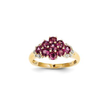 14K Yellow Gold Diamond and Brazilian Garnet Ring