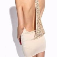 Sexy Apricot Backless Sequined Dress