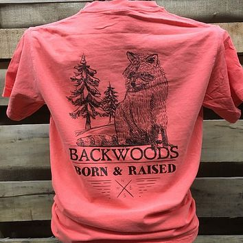 Backwoods Born & Raised Coon Racoon Comfort Colors Bright Unisex T Shirt