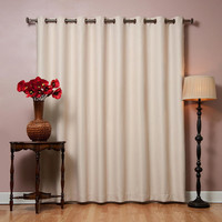 "Beige Wide Width Flame Retardant Basic Solid Grommet Thermal Insulated Blackout Curtains 100""""W X 84""""L"