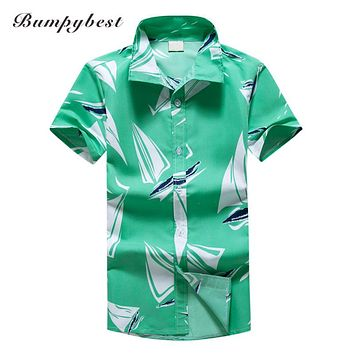 men clothing summer beach shirts men short sleeve leisure style shirts