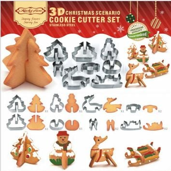 Cookie Cutter Dropshipping  8 Pcs 3D Christmas Scenario Stainless Steel Cookie Cutter Set Cake Biscuit Mould  Fondant Cutter