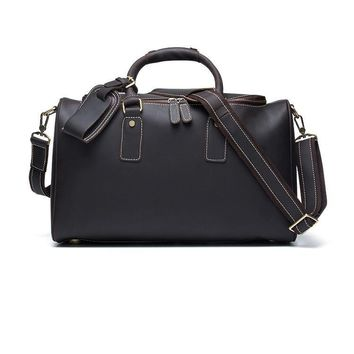 2018 Vintage Crazy Horse Genuine Leather Large Duffle Bag