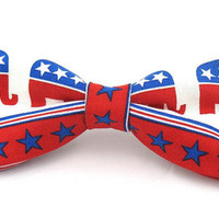 Men Large Six Inch Republican Elephant Clip On Bow Tie
