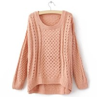 ROUND COLLAR NICE SWEATER pink