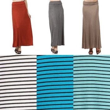 Striped Rayon Draped JERSEY MAXI LONG SKIRT Folded Waist Full Length Flare Skirt