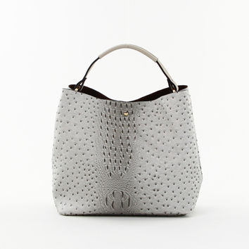 Croc Double Bag Tote in Grey