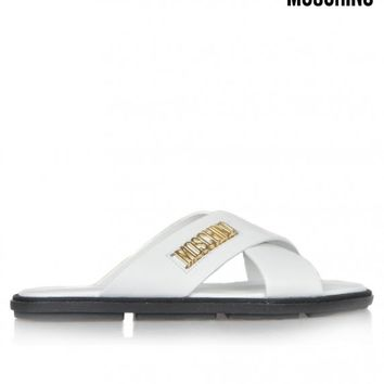 MOSCHINOCROSS STRAP LEATHER SANDALS - WHITE
