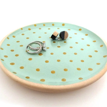 "Mint green and gold dots wood dish, jewelry dish, 6"" wood plate, key dish, jewelry tray"