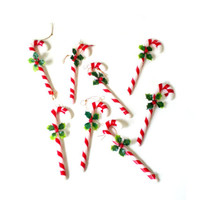 Candy Cane Ornaments, Christmas Decor, Vintage Ornaments, Shabby Chic, Rustic Decor