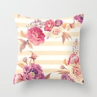 Pastel Flowers Throw Pillow by Printapix
