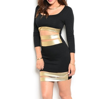 Long Sleeve Sexy Cut Out Mini Dress in Gold & Black