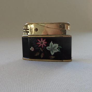 1950's Ladies Lighter Pretty Floral Black Enamel and Brass with Flowers - Vintage Tobacciana - Stratton Augusta made in West Germany