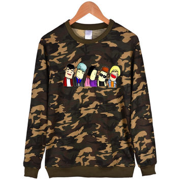 Classical Pattern BIGBANG Capless Camouflage Hoodies Men Brand Designer Mens Sweatshirt Kpop Sweatshirt Men Hoodie Clothes 4XL