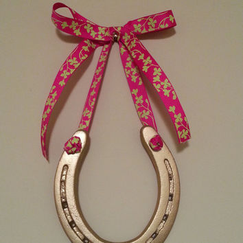 Lucky Gold Painted Horse Shoe-Hot Pink & Green Print Bow w Custom Gift Tag