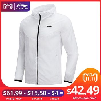 Li-Ning Men Running Windbreaker 100% Nylon Regular Fit Waterproof LiNing Breathable Comfort Sports Coats AFDN149 MWF362