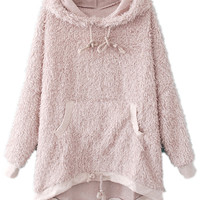 ROMWE | Pink Hooded Long Sleeve Shaggy Pockets Hoodie, The Latest Street Fashion