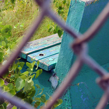 Prison Bench Photo, Jail Photography, Rec Yard, Fence, Rustic, Abandoned MO State Penitentiary, Art Print Photograph, Teal, Aqua, Green