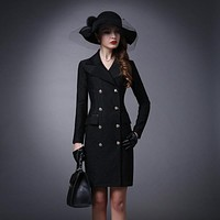 High Quality Autumn Winter Women Striped Turn-Down Collar Double Breasted Blazers Jackets Coat Slim Fashion Long Blazers Dress