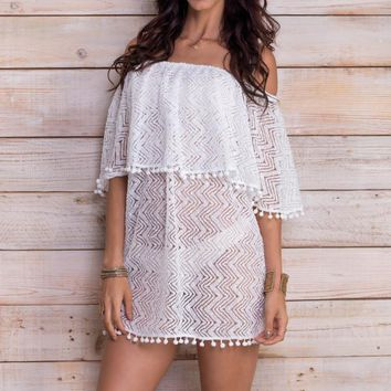 MAYLANA Ziva White Lace Dress
