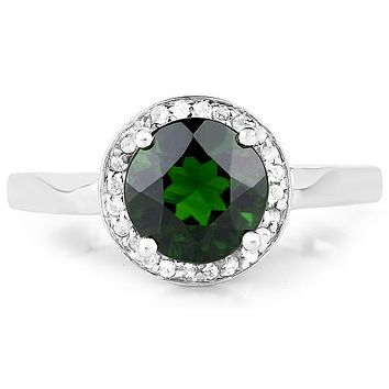 An Ethically Mined 1.9CT Round Cut Green Chrome Diopside and Halo of White Topaz .Engagement Ring