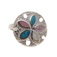 BLUE WHITE PINK TRICOLOR INLAY OPAL RING HAWAIIAN SAND DOLLAR 925 SILVER