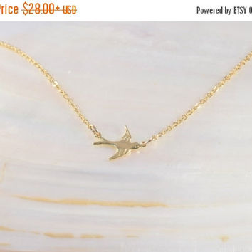 SALE 20% Off - FLYING BIRD Necklace, Gold Dove Necklace, Tiny Dove Necklace, Gold Plated 2.5 Micron, Swallow Necklace, Dainty Small Necklace