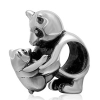 Solid 925 Sterling Silver Mother and Baby Panda Charm Bead 3282 for European Snake Chain Bracelets