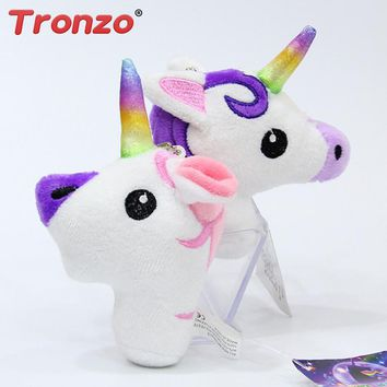 Tronzo 1Pcs Unicorn Horse Stuffed Animal Plush Toys Keychain Pendant Soft Rainbow Horse Anime Toys Easter Gift For Children Kids