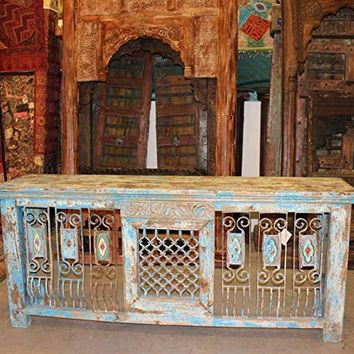 Mogul Interior Antique Vintage Distressed Rustic TV Console Jali Sofa Table Indian Wood Hand Carved Iron Buffet Farmhouse Designs