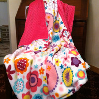 Hot Pink Minky Baby Blanket Cuddle White by DesignsByDiBlankets
