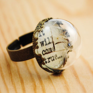 Dandelion Wishes - It will come true - Dandelion Ring - Dandelion Fluff Jewelry - Graduation Gift