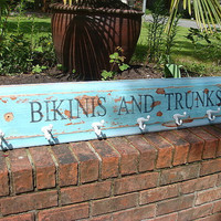 Beach House Hook Rack Sign Turquoise Bikinis and Trunks Coat Rack