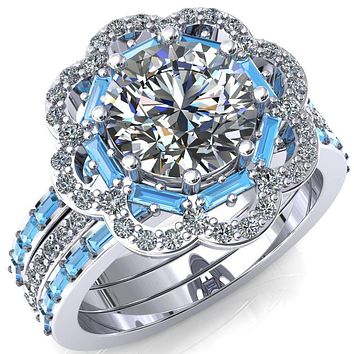 Camelia Round Moissanite Accent Diamond and Aqua Blue Spinel Halo Ring
