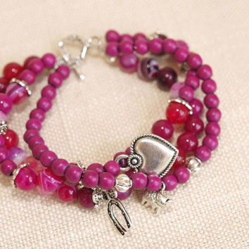 Purple Pink  Beads Bracelet  Purple Pink  Charms Bracelet  Beads Bracelet   Charm Bracelet