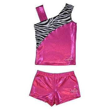 O3CHSET033 - Obersee Cheer Dance Tank and Shorts Set - Pink Zebra