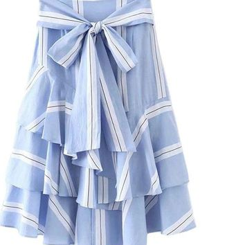Bow Tie Waist Layered Ruffle Skirt Summer Striped Long Skirt Women High Waist Elegant Skirt Blue Skirt