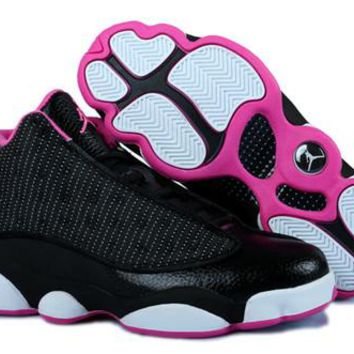 Hot Nike Air Jordans 13 Retro Women Shoes Black Pink White