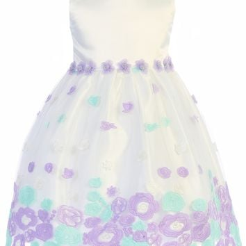 (Sale) Girls 4T Ivory & Lilac Satin Dress w. Floral Embroidered Tulle Skirt