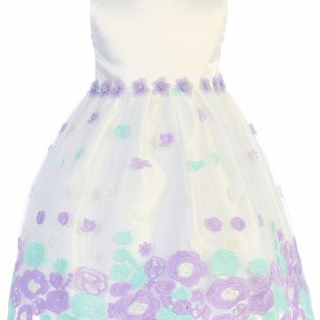 (Sale) Girls 6-12 Months Ivory & Lilac Satin Dress w. Floral Embroidered Tulle Skirt
