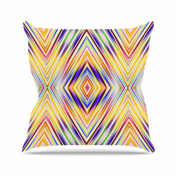 """Dawid Roc """"Colorful Tribal Ethnic Ikat """" Yellow Pattern Outdoor Throw Pillow"""
