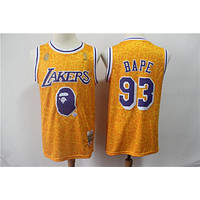 BAPE x Mitchell & Ness #93 Los Angeles Lakers Gold Jersseys - Best Deal Online