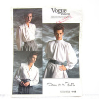 Vintage Vogue Oscar de le Renta Blouse Pattern 1913, American Designer, Misses Size 6 8 10, Uncut, Factory Folds, 1980s, French and English