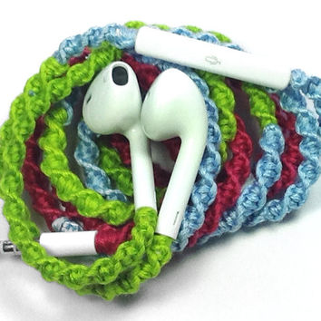 Coral Reef - Tangle Free Earbuds - Wrapped Headphones - Your Choice of Headphones
