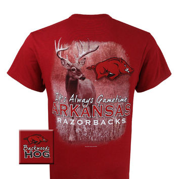 Arkansas Razorbacks Hogs Gametime Deer Backwoods Unisex Bright T Shirt