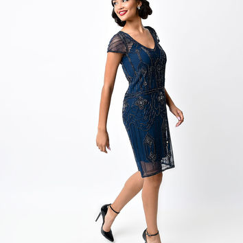 1920s Style Navy Blue Hand Beaded Martha Deco Flapper Dress