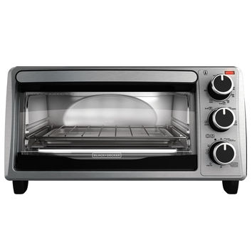 BLACK+DECKER TO1303SB 4-Slice Toaster Oven Includes Bake Pan Broil Rack & Toasting Rack Stainless Steel/Black Toaster Oven