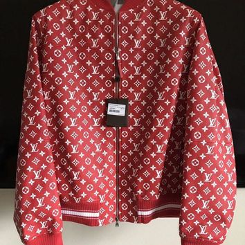 onetow One-nice? Supreme X Louis Vuitton Red Leather Blouson SKU 1A3FBF Monogram Bomber Jacket XL