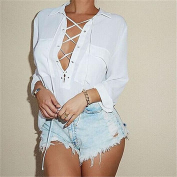 Blusas Turn Down Collar Chiffon Shirt Sexy Deep V Front Lace Up Long Sleeve Blouse Casual Tops Plus Size S-3XL